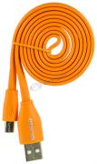 """Кабель USB 2.0 - micro USB, 1м, 2.1А, оранжевый, плоский """"OLMIO"""" арт:038702"""