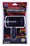 """Прикуриватель 2 в 1 + 1 USB разъем, с подсветкой, стразы, черный (KS-201USB) """"K&S"""""""