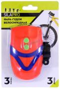 "Фара велосипедная 3 LED, 3 режима, питание от батарей 3хААА, пластик (2 цвета) + ГУДОК (195-019) ""SILAPRO"""