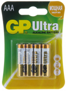 Батарейка GP LR03 ULTRA ALKALINE 24AU-2UE4 (блистер 4 шт.)  ААА