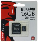 """Карта памяти 16Gb,microSD Class10 с адаптером UHS-I """"KINGSTON"""""""