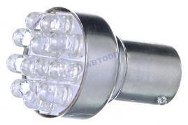Светодиод с цоколем (белый) 24V (BA15s) 21W  12LED (1-конт.) (поворот, стоп-сигнал) (1156-12(24))