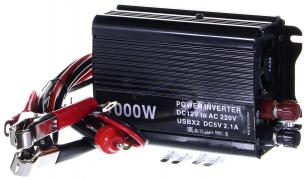 """Преобразователь напряжения 12/220 (1000W) от АКБ и прикур-ля, USB разъем (инвертор) (А-12) """"K&S"""""""