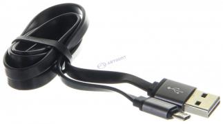"""Кабель USB 2.0 - microUSB, 1м, 2.4А двухсторонний, плоский """"Partner""""  арт: 033304"""