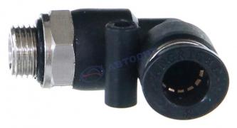 Фитинг соединительный для трубок ПВХ d8 мм с наружней резьбой М10х1 (угловой)