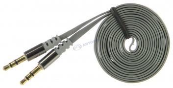 Аудиокабель AUX 3.5(m)-3.5(m), 1.2м, серый, OLMIO арт:039485