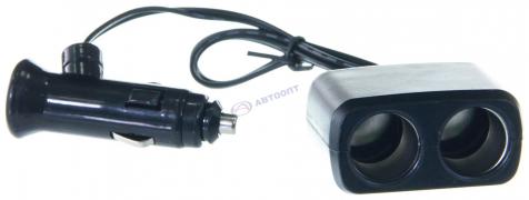 """Прикуриватель 2 в 1 + 1 USB с удлинителем, черный, русифицю упаковка (KS-318 РУС) """"K&S"""""""