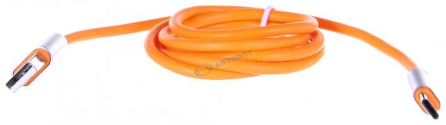 Шнур USB Type-C, 1м, 2А прорезиненный, оранжевый (470-027)