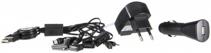"""Зарядное устройство телефона UNT-168 (KS-168C) iPhone, 1000мА, USB, 10 переходников, 12V/220V черный """"K&S"""""""