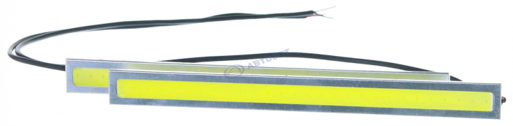 """Огни дневные ходовые KS-280 COB (1 сплошной диод) провода, корпус серебристый, 144*4*16мм """"K&S"""""""