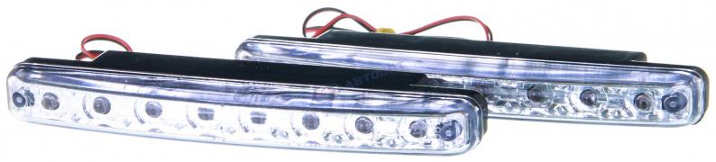 """Огни дневные ходовые  8LED (в 1ряд), L=158мм, 12V, белый свет (702-105) """"NEW GALAXY"""""""