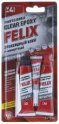 """Клей эпоксидный профессиональный """"FELIX"""" прозрачный (2 * 17мл)+ супер-клей 3 гр в подарок (Малазия)"""